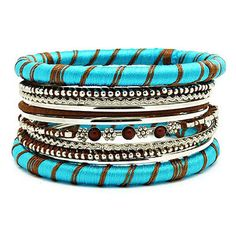 Adela Turquoise & Brown Decorative Bangles http://www.eleven26.us/collections/bangles/products/12-piece-turquoise-brown-bangle-set
