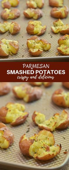 Parmesan Smashed Potatoes fluffy on the inside and crispy and super crispy on the outside. They might not be the prettiest side dish but they sure are one of the tastiest!
