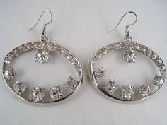 MACY'S Dangling Crystal Rhinestone Hoop Earrings NEW in Leatherette Jewelry Box