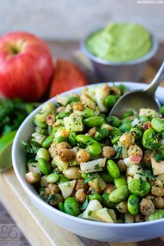 EDAMAME-CHICKPEA POWER SALAD WITH AVOCADO LIME- DRESSING