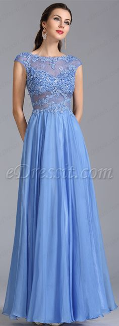 Periwinkle floor length dress with a detailed bodice.