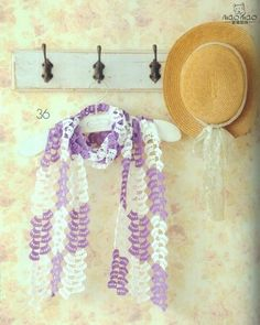 Purple and White Scarf free crochet graph pattern