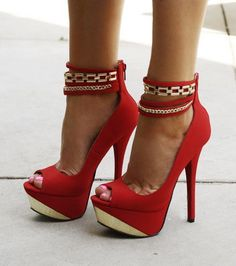 2611cbae191  Sexy Strappy Platform  Pump ...  shoes  heels  fashion Red