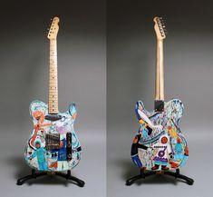 Kevin Hearn's guitar with Shuvinai Ashoona's drawings, photograph by Brad van der Zanden. Canadian Art, Detailed Drawings, Book Art, Photograph, Guitar, Van, Artist, Prints, Life