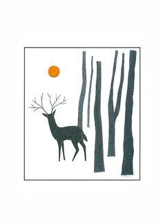 Art Print de cerf 10 x 8 Art Deer Illustration Art par caitlihne
