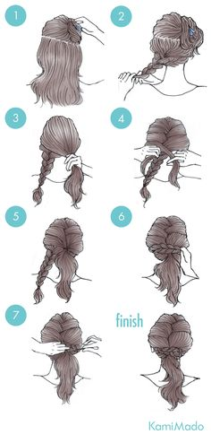 Braid the bottom, French-braid the top, wrap bottom braid around and pin. Braid the bottom, French-braid the top, wrap bottom braid around and pin. Ponytail Hairstyles Tutorial, Pony Hairstyles, Ponytail Tutorial, Elegant Ponytail, Braided Ponytail, Cute Simple Hairstyles, Trendy Hairstyles, Hair Designs, Hair Hacks