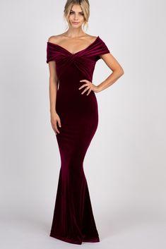 76b62ce7f8c Burgundy Velvet Off Shoulder Mermaid Evening Gown