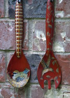 Wooden spoons painted with acrylic paint