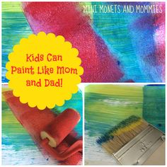 Art + pretend play! Set up a painting station to help your child explore color, texture and more.