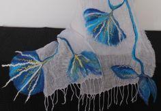 Linen Scarf Light Blue Wrap Long Felting Scarf от DjenkaScarves