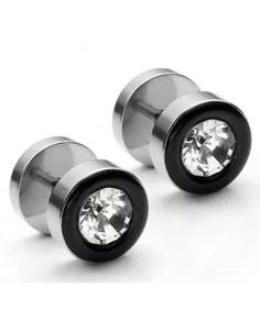 * Penny Deals * - PiercingJ Stainless Steel Sparklely CZ Gem Stud Earring Fake Illusion Gauge Plug Look Silver Black *** Check this awesome product by going to the link at the image. Stud Earrings For Men, Plugs Earrings, Baby Earrings, Kids Earrings, Fake Gauges Plugs, Guys Ear Piercings, Rings N Things, Stainless Steel Earrings, Fashion Earrings