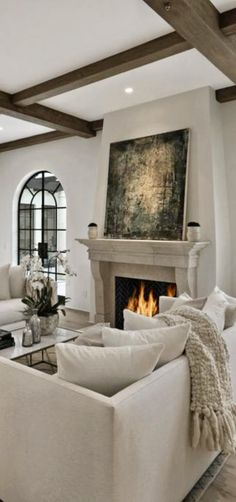 This type of tall Fireplace is certainly a formidable design philosophy. Living Room White, Beautiful Living Rooms, Home Living Room, Living Room Designs, Living Room Decor, Living Spaces, Family Room Design, Living Room Inspiration, Color Inspiration