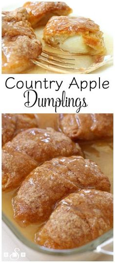 Country Apple Dumplings made easy with few ingredients- an apple, brown sugar, crescent dough & lemon lime soda! Simple recipe for apple dumplings in caramel sauce that everyone loves. Easy too.