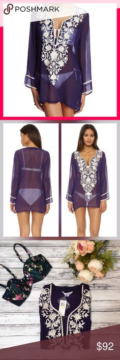 """Ella Moss Stella Tunic - Medium Brand NWT, purple, medium. Ella Moss Swim """"Stella"""" semisheer tunic with embroidered floral front. Split V neckline. Long sleeves with contrast trim. Relaxed silhouette. Vented sides. Pullover style. Rayon. Made in USA. Ella Moss Swim Coverups"""
