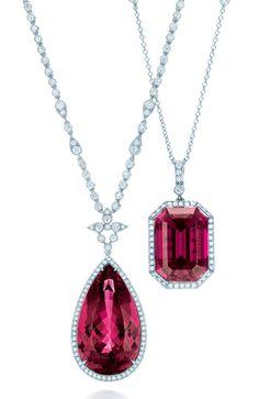 Colgantes de rubelitas y diamantes de Tiffany & Co.