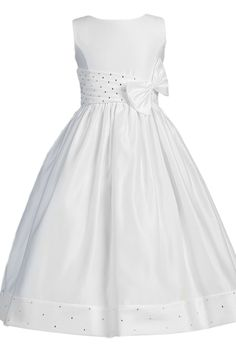 Satin, Shantung & Rhinestones White First Holy Communion Dress ( Girls Size 5 to 14 - 10x to 16x )