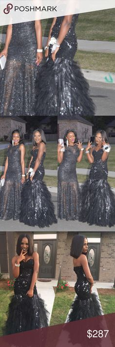 Jovani prom dress !! Black JOVANI!! JOVANI!! Jovani Black prom dress. Good condition only worn once ! Size 4 no alterations made. Professional dry cleaned. Price is negotiable!!! Please serious buyers!! Jovani Dresses Prom