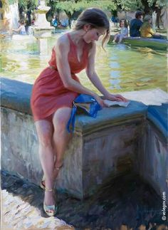 The Letter a Vladimir Volegov Original Painting available from J Watson Fine Art 661 your source for Vladimir Volegov original paintings and other Vladimir Volegov art. Female Portrait, Portrait Art, Female Art, Portraits, Woman Painting, Figure Painting, Painting & Drawing, Blue Painting, Vladimir Volegov