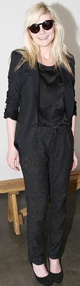 Who made Kirsten Dunst's black sunglasses, shirt, pants and black shoes that she wore during fashion week? Shirt – Opening Ceremony  Pants – Patrick Ervell  Shoes – Bottega Venetta  Sunglasses – Ralph Lauren