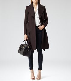 Womens Aubergine Belted Tailored Coat - Reiss Envy