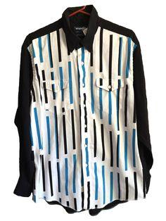 Vintage mens womens black white blue long sleeve wrangler double breast pocket %100 cotton extra long tails size 17-35 cowboy cut regular XL by VELVETMETALVINTAGE on Etsy