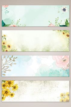 Flower Background Wallpaper, Flower Backgrounds, Journal Stickers, Planner Stickers, Hand Drawn Flowers, Painted Flowers, Diy Bookmarks, Floral Banners, Drawing Letters