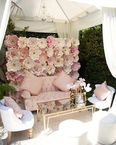 Gorgeous pastel shades floral wall wedding styling