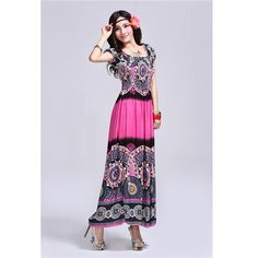 INFINITY Stylish Elastic Strolling Maxi Dress - Pink - Shipping Cap Promotion- - TopBuy.com.au