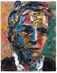 Oil Painting 20 by 16 by 3/4 in. / original oil painting vintage impressionist art realism outsider male of paint impasto thick abstract