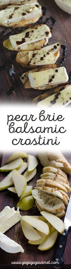 """PEAR AND BRIE CROSTINI WITH BALSAMIC AND THYME """"This is a great snack or party appetizer, because it takes next to no time or effort to do. Toast up some bread, load it up, do a little sprinkling and drizzling, and you're good to go."""" Try making with Jimm Snacks Für Party, Appetizers For Party, Appetizer Recipes, Bread Appetizers, Healthy Appetizers, Christmas Appetizers, Brie Appetizer, Healthy Dishes, Easy Party Recipes"""