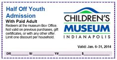 The Children's Museum of Indianapolis has great coupons & discounts this month! Check them all out here.