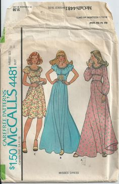 Gathered Dress With Puff Sleeves - McCall's Pattern 4481 - 1975 - Uncut by LouisasNeedle on Etsy