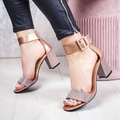 Sandale cu toc dama champagne Tufasia