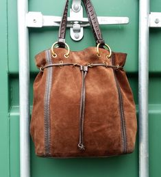 f4f45083871 Karen Millen brown leather and suede tote bag, Festival Bag, Hobo Duffle  drawstring purse