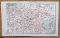 EDINBURGH 1892 Original Alter Stadtplan Antique City Map Lithographie Scotland