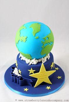 By Strawberry Lane Cake Company. Cake Wrecks - Home Cupcakes, Cupcake Cakes, Shoe Cakes, Globe Cake, Earth Cake, Planet Cake, Galaxy Cake, Travel Cake, Cake Wrecks