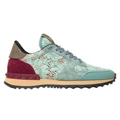 Fancy - Lace & Suede Sneakers by Valentino