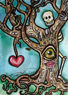 Luree Art Original Day of The Dead Skeleton Love Tree OOAK Painting ACEO ATC NR | eBay