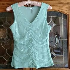 Classiques lacy feminine top Minty green lacy gathered top Classified entier Tops