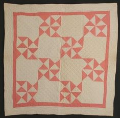 "Pinwheels Doll Quilt: Circa 1920; Pennsylvania  Four Hourglass blocks are combined to create a Pinwheel pattern in this lovely 1920's doll quilt. Excellent condition. Well scaled to the size of the piece, including the cable quilted border. Measures 28 1/2"" square. Berks County, Pennsylvania origin."
