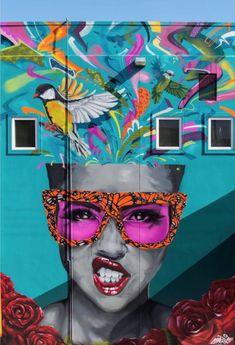 in Modesto, California, USA, 2018 Graffiti Wall Art, Mural Art, Murals Street Art, Street Art Graffiti, Art Drawings Beautiful, Amazing Street Art, Building Art, Arte Pop, Art Graphique