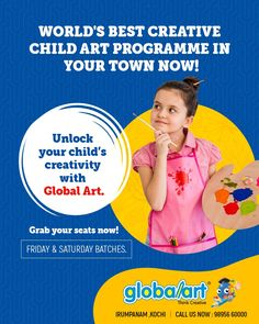 World's best creative child art programme in your town now! Let your child Draw their Dreams. Unlock your child's creativity with Global Art. Grab your seats now ! Limited Seats Only. Drawing For Kids, Art For Kids, Child Art, Art Programs, Kochi, Global Art, Creative Kids, Imagination, Creativity