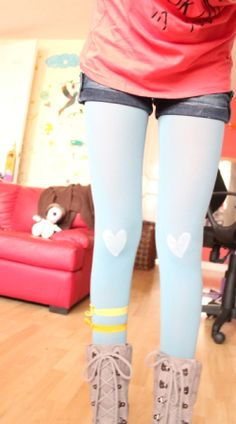 DIY heart tights: might make matching sets for me and my little sister :)