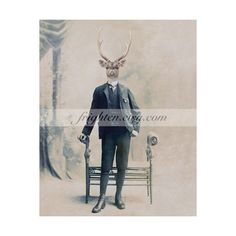 Deer in Suit Art, Collage Art, 8x10 Print, Animal in Clothes, Stag... ($20) ❤ liked on Polyvore featuring men's fashion