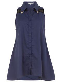 Navy steel sheer swing shirt - Tops  - Clothing