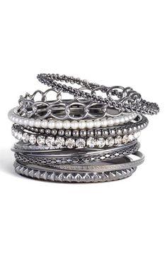 Natasha Couture Chain Link Mixed Bangle Set