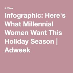 Infographic: Here's What Millennial Women Want This Holiday Season | Adweek