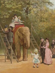 Elephan ride, London zoo. Victorian Britain. Zoos were popular. Children rode on elephants and camels, and watched the lions being fed.