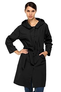ACEVOG Women Packable Front Button Raincoat Hooded Rain Jacket Wind Rain Coat * Learn more by visiting the image link.