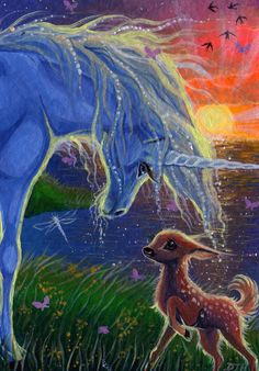 For the first time, the unicorn sees his true reflection, shining in the innocent and pure eyes of the fawn. Acrylic - x For auction here -. ACEO - Mirroring My Soul Unicorn And Fairies, Unicorn Fantasy, Unicorns And Mermaids, Unicorn Horse, Unicorn Art, Pegasus, Magical Creatures, Fantasy Creatures, Fantasy World